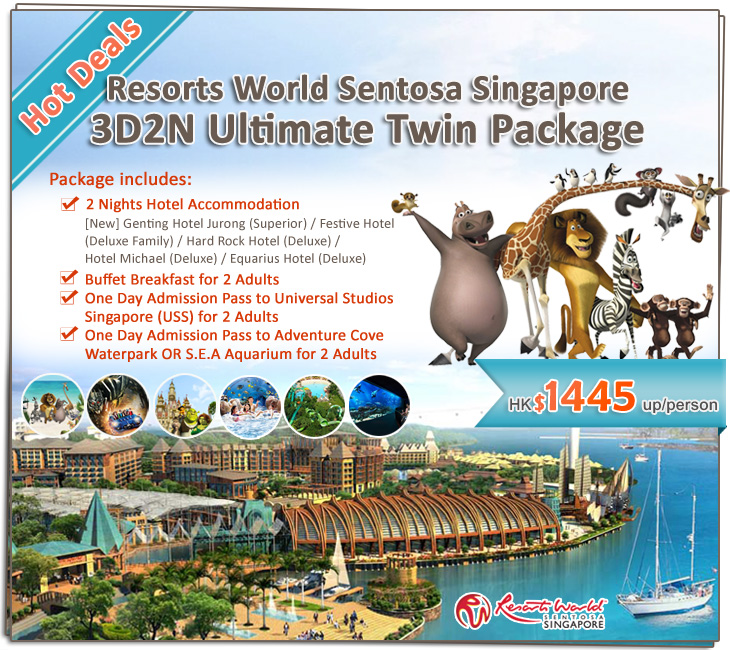 Hot Deals! Resorts World Sentosa Singapore 3D2N Ultimate Twin Package - 2 Nights Hotel + Breakfast + Universal Studios Singapore + Adventure Cove Waterpark OR S.E.A Aquarium - $1480up/person